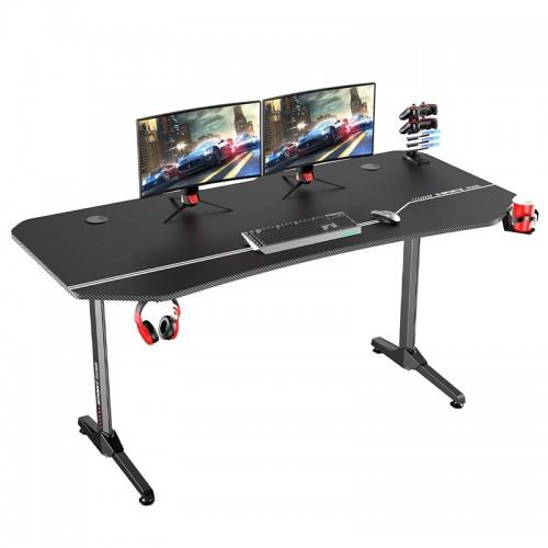 Gaming Desk NE-1675 With Headphone hook & Cup holder 159x75x75cm (Black)