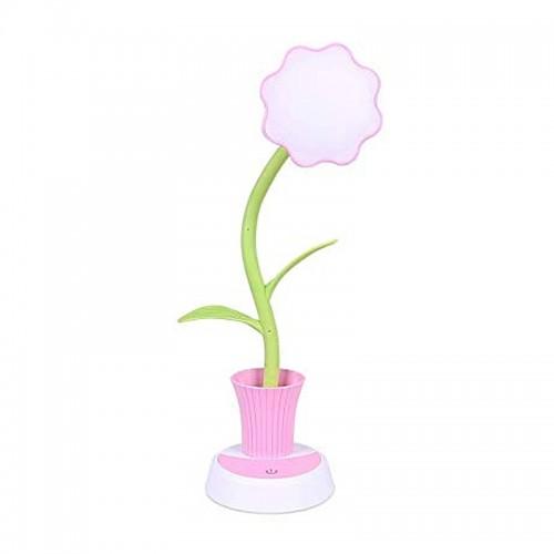 Φωτιστικό Μολυβοθήκη σε Σχήμα Γλάστρα με Λουλούδι (Ροζ)