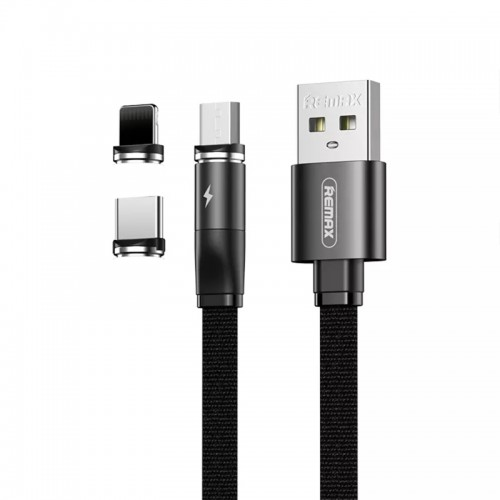 Μαγνητικό Καλώδιο Φόρτισης Remax USB to Lightning / Type-C / micro RC-169th (Μαύρο)
