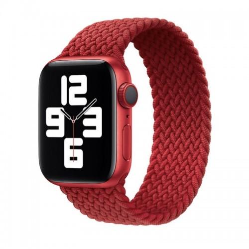 Ανταλλακτικό Λουράκι Σιλικόνης OEM Braided Solo Loop για Apple Watch 42/44mm (145mm) (Red)