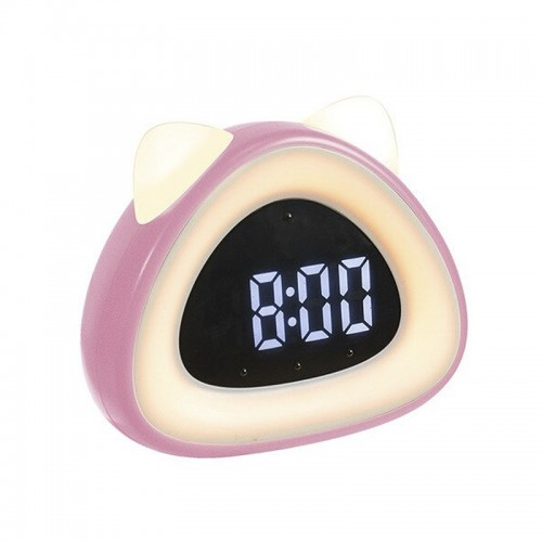 Ρολόι Ξυπνητήρι LED σε Σχήμα Γάτας (Ροζ)
