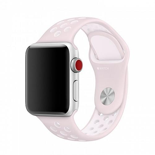 Ανταλλακτικό Λουράκι OEM Softband για Apple Watch 38/40mm (Ροζ-Άσπρο)