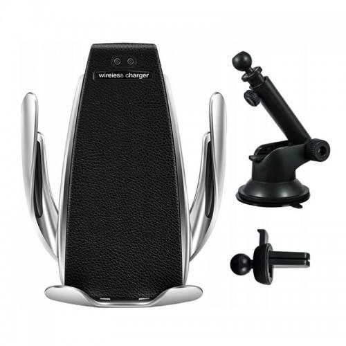Βάση Στήριξης Αεραγωγού και Τζαμιού Αυτοκινήτου με Ασύρματη Φόρτιση Smart Sensor S5 2in1 (Μαύρο-Ασημί)