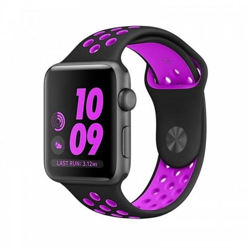 Ανταλλακτικό Λουράκι OEM Softband για Apple Watch 38/40mm (Μαύρο-Μωβ)