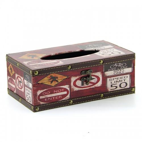 Ξύλινο Κουτί για Χαρτομάντηλα Speed Limit 50 (Κόκκινο)