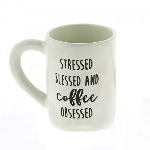 Κούπα Stressed Blessed and Coffee Obsessed 450ml (Άσπρο)