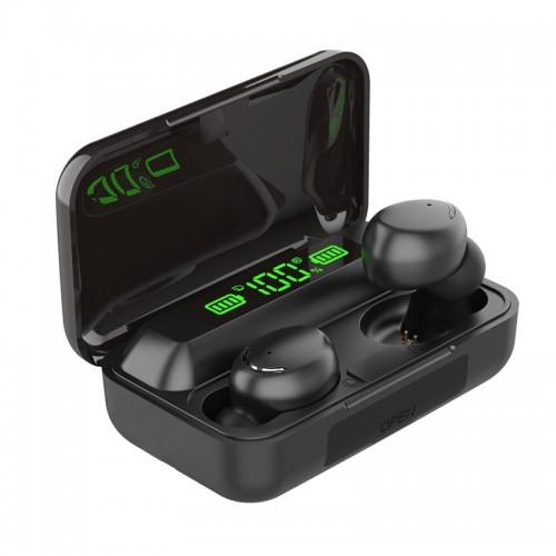 Ασύρματα Ακουστικά Bluetooth TWS ΜΕ Βάση Φόρτισης και 'Ενδειξη Οθόνης BTH-F9-5 (Μαύρο)