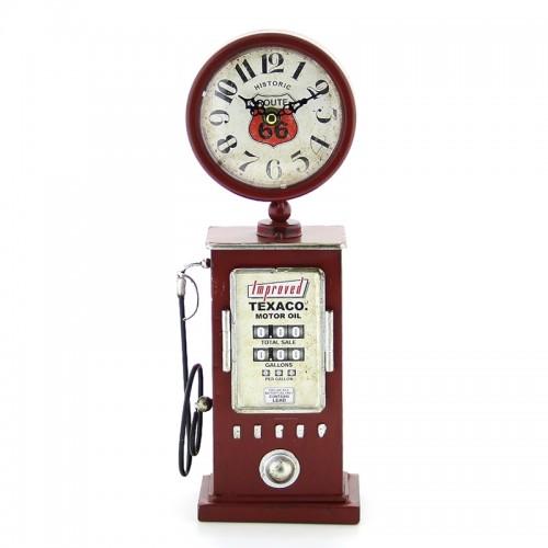 Vintage Μεταλλικό Ρολόι Αντλία Βενζίνης Texaco Motor Oil (Κόκκινο)