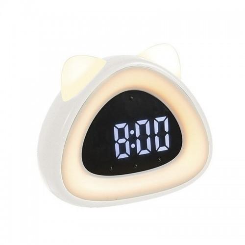Ρολόι Ξυπνητήρι LED σε Σχήμα Γάτας (Άσπρο)