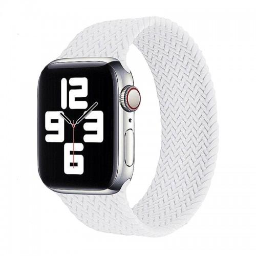 Ανταλλακτικό Λουράκι Σιλικόνης OEM Braided Solo Loop για Apple Watch 42/44mm (145mm) (White)