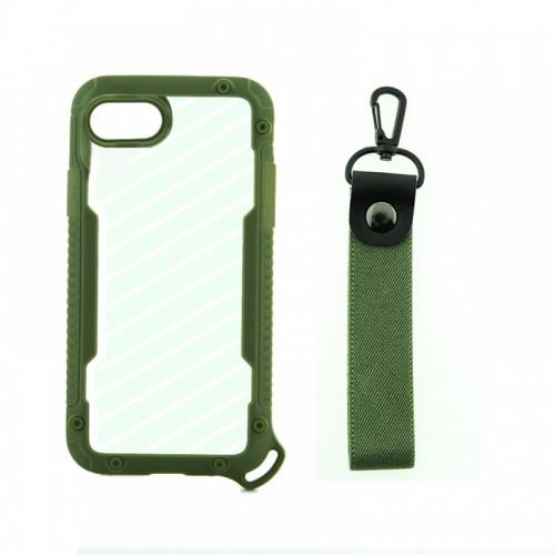 Θήκη OEM Bumper Back Cover με Λουράκι Χειρός για iPhone 7/8 Plus (Χακί)