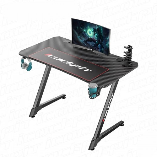 Gaming Desk Z4-1160-1 With Headphone hook & Cup holder 111x60x75cm (Black)