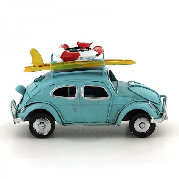 Διακοσμητικό Μεταλλικό Αυτοκίνητο Εποχής - Σκαραβαίος με Σανίδα Surf και Σωσίβιο (Γαλάζιο)