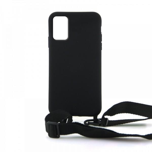 Θήκη OEM Σιλικόνης Matte Back Cover με Λουράκι για Samsung Galaxy A51 (Black)