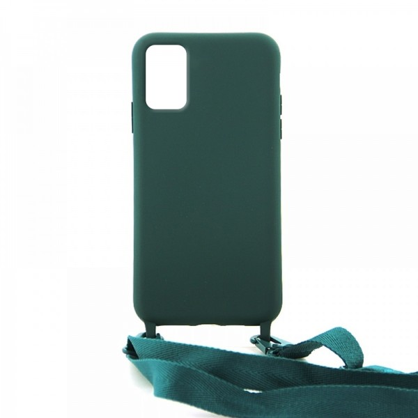 Θήκη OEM Σιλικόνης Matte Back Cover με Λουράκι για Samsung Galaxy A31 (Casal Green)