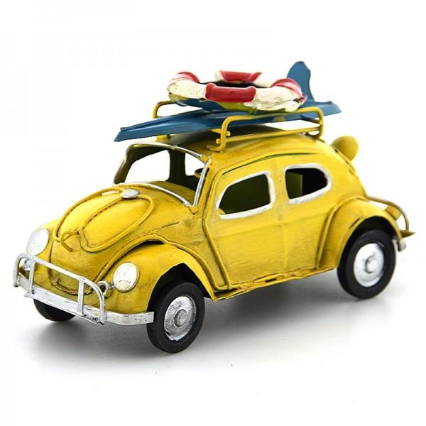 Διακοσμητικό Μεταλλικό Αυτοκίνητο Εποχής - Σκαραβαίος με Σανίδα Surf και Σωσίβιο (Κίτρινο)