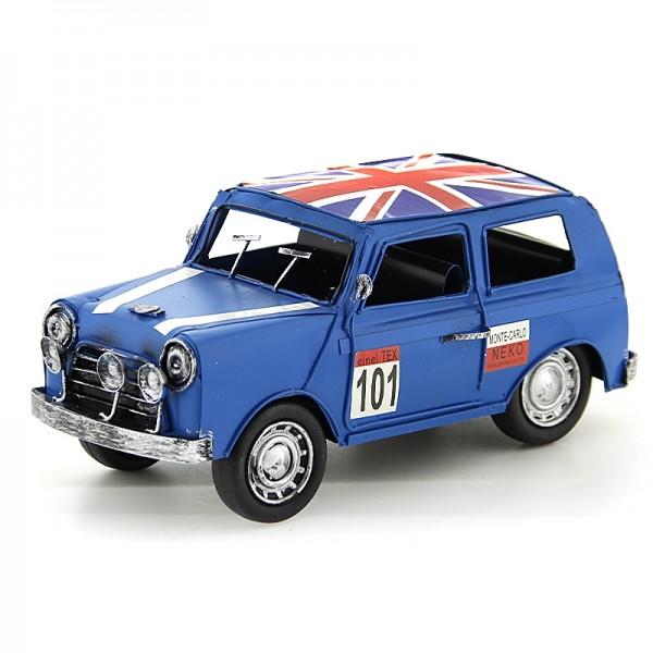 Vintage Διακοσμητικό Μεταλλικό Αυτοκίνητο με Βρετανική Σημαία (Μπλε)