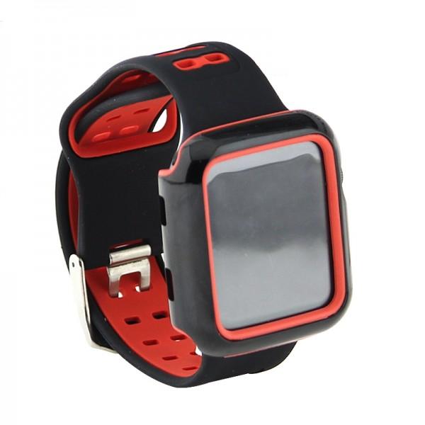 Ανταλλακτικό Λουράκι OEM με Θήκη Προστασίας για Apple Watch 42/44 mm (Μαύρο - Κόκκινο)